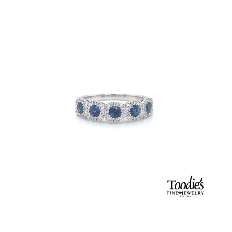 Toodie's Signature Fashion Sapphire and Diamond Five Stone Halo Band
