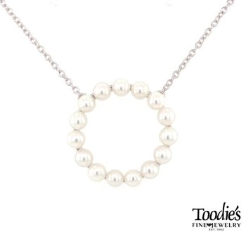 Freshwater Pearl Circle Of Life Pendant Necklace