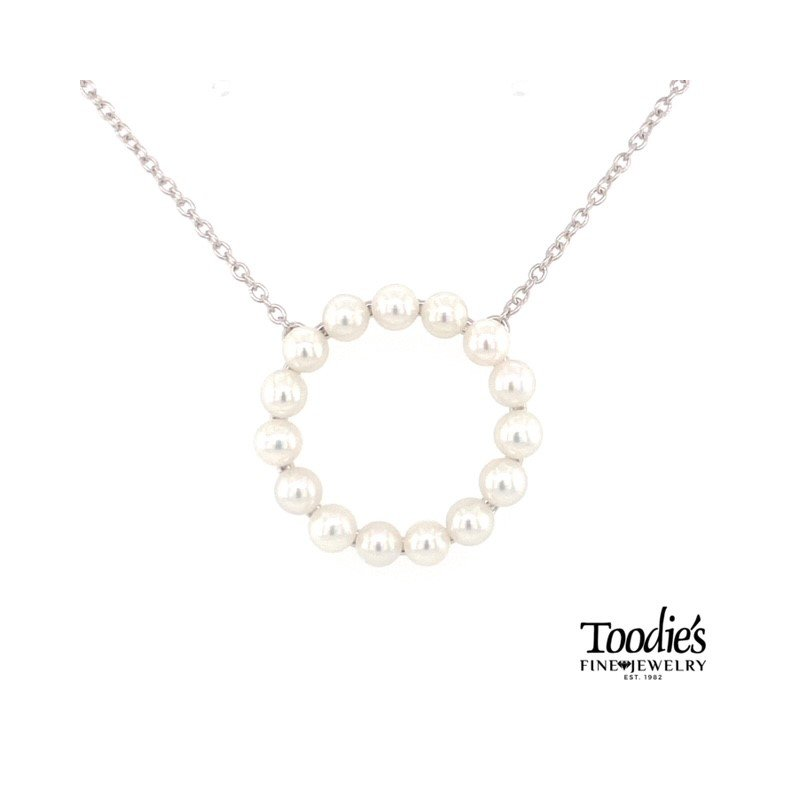 Toodie's Signature Fashion Freshwater Pearl Circle Of Life Pendant Necklace