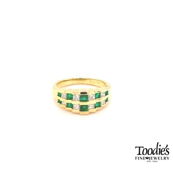 Emerald And Princess Cut Diamond Double Row Ring