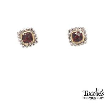 Garnet Bezel Set Studded Earrings