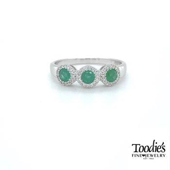 Emerald and Diamond Three Stone Halo Ring -