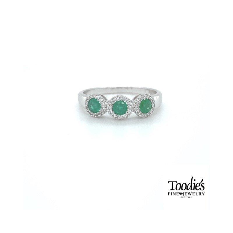 Toodie's Signature Fashion Emerald and Diamond Three Stone Halo Ring -