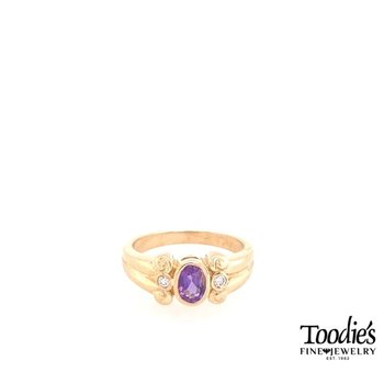 Amethyst And Diamond Three Stone Ring