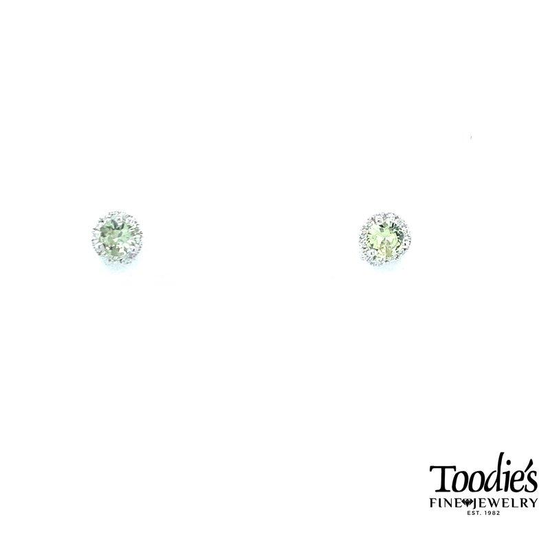 Toodie's Signature Fashion Pastel Green Sapphire and Diamond Halo Studs