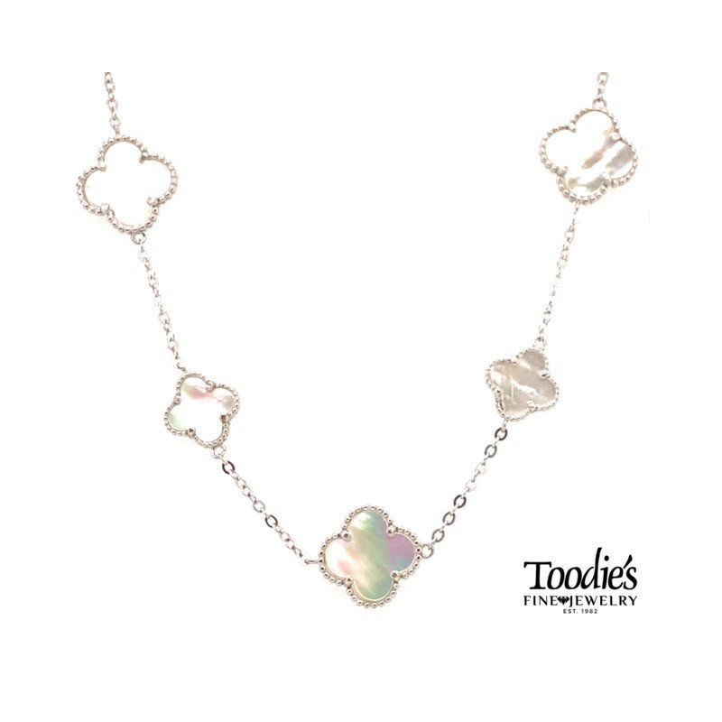 Toodie's Signature Fashion Mother Of Pearl Clover Design Necklace