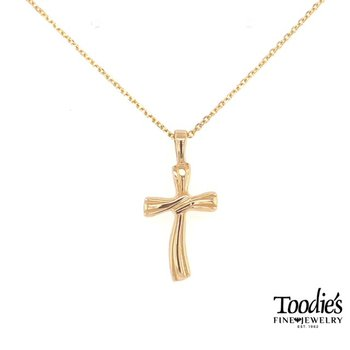Gold Wave Cross Necklace
