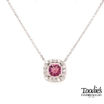 White Gold Pink Tourmaline And Diamond Necklace