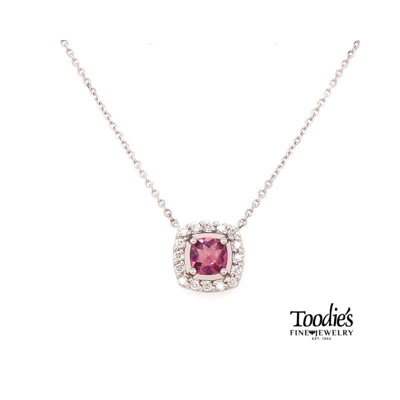 Toodie's Signature Fashion White Gold Pink Tourmaline And Diamond Necklace
