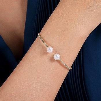 Pearl and Gold Open Bangle Bracelet