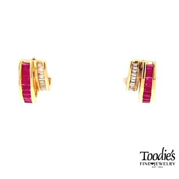 Vintage Ruby and Diamond Huggie Earrings
