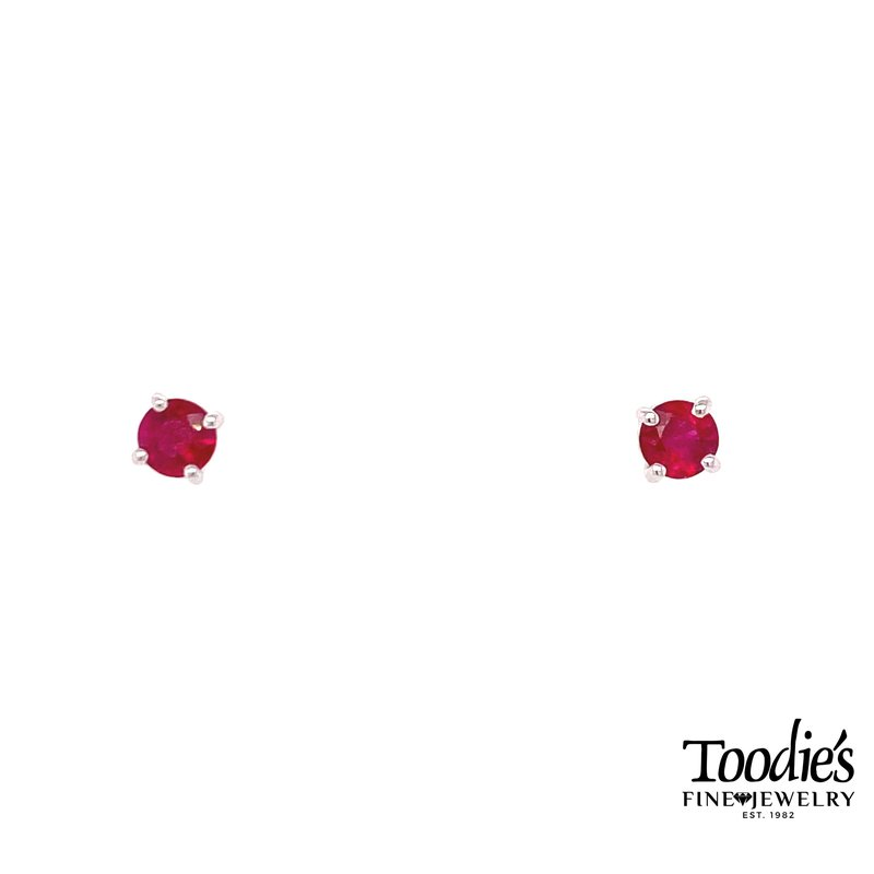 Toodie's Signature Fashion Round Ruby Solitaire Earrings