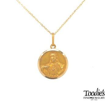 Gold Sacred Heart Medallion Necklace