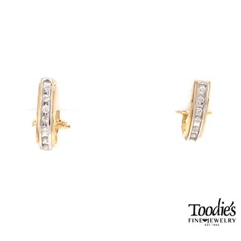 Diamond Half Hoop Channel Set Earrings