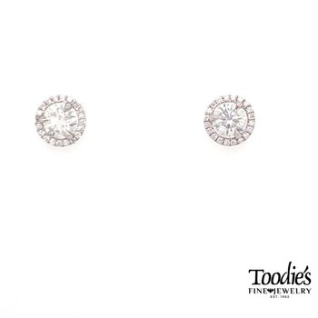 Diamond With Diamond Halo Earrings
