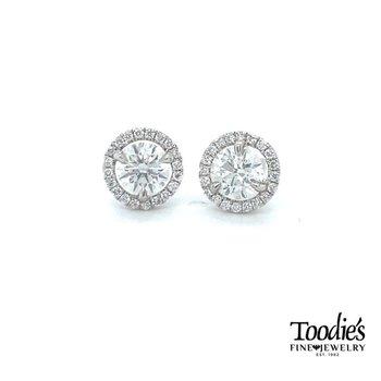 Sparkly Diamond Halo Earrings