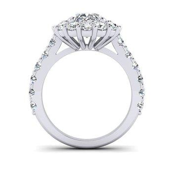 OMG Series Oval Diamond Halo Engagement Ring