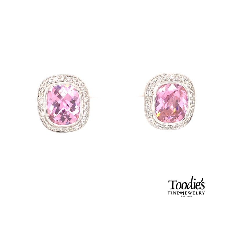 Toodie's Signature Fashion Pink Quartz And Diamond Halo Earrings