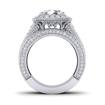 OMG Series Triple Row Cushion Shaped Diamond Halo Engagement Ring