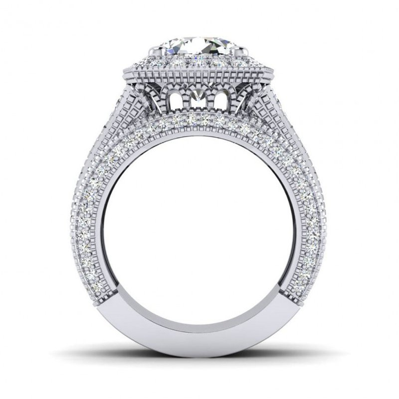 Toodie's Bridal OMG Series Triple Row Cushion Shaped Diamond Halo Engagement Ring
