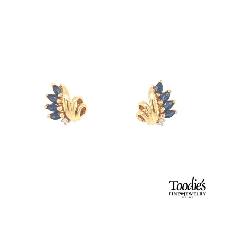 Toodie's Signature Fashion Blue Sapphire and Diamond Cluster Earrings
