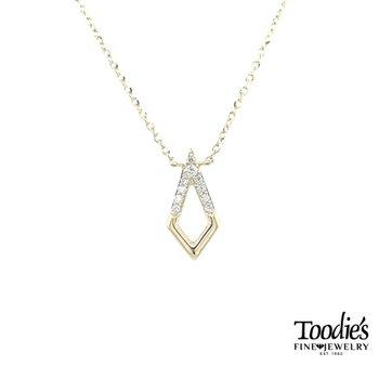 Elongated Open Triangular Diamond Pendant