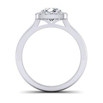 Cushion Shaped Diamond Halo Top Engagement Ring