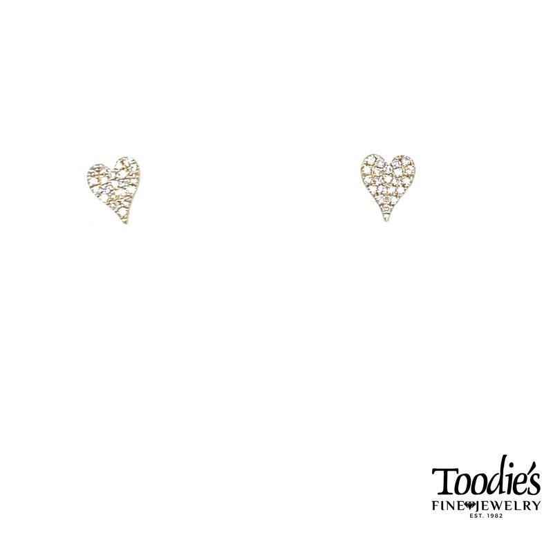 Shy Creation Pave Diamond Heart Studded Earrings