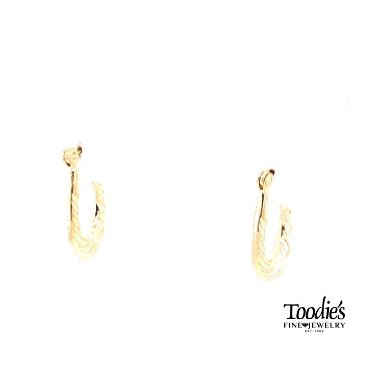 Toodie's Signature Fashion Ribbon Design Oval Hoop Earrings