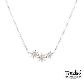 Triple Starburst Diamond Style Necklace