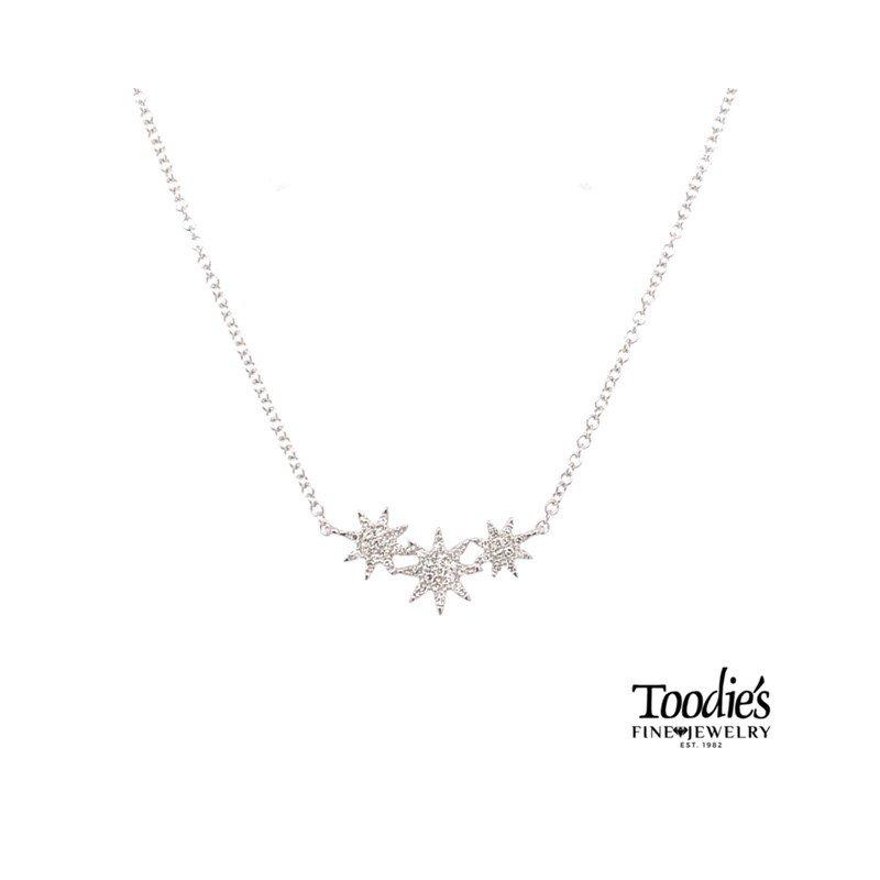 Shy Creation Triple Starburst Diamond Necklace