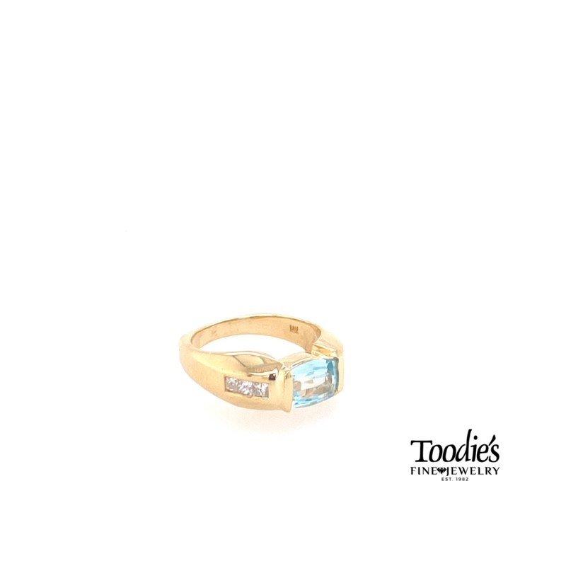 Toodie's Signature Fashion 14K Yellow Gold Bezel Aquamarine and Diamond Ring