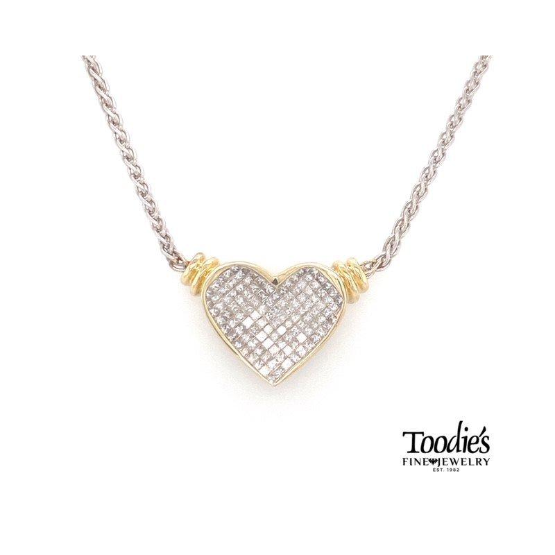 Toodie's Signature Fashion Invisible Set Diamond Heart Pendant