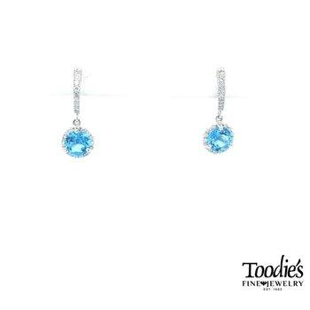 Blue Topaz and Diamond Halo Drop Earrings