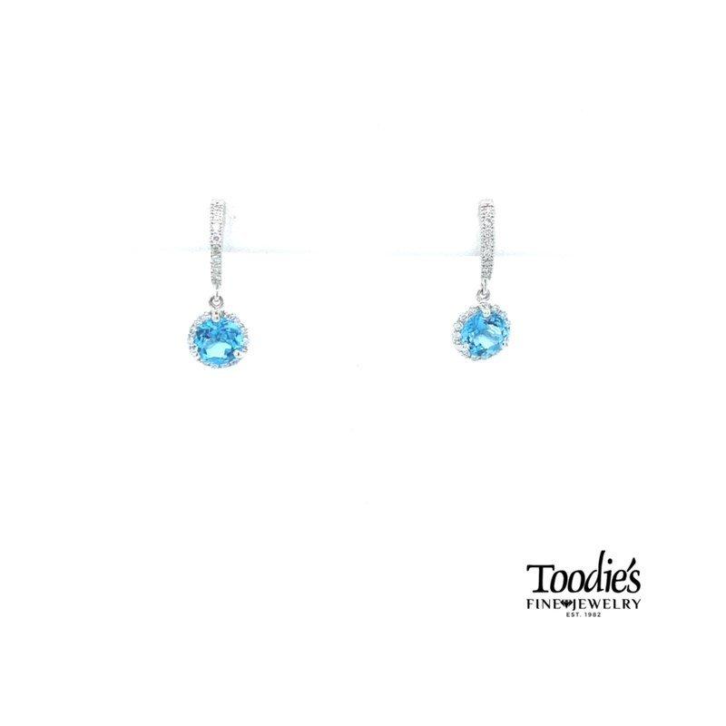 Toodie's Signature Fashion Blue Topaz and Diamond Halo Drop Earrings