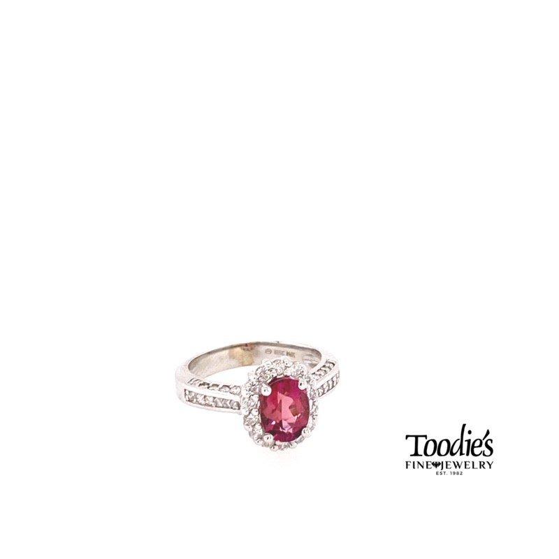 Toodie's Signature Fashion Pink Tourmaline And Diamond Halo Ring