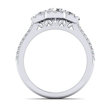 Three Stone Halo Design Diamond Engagement Ring