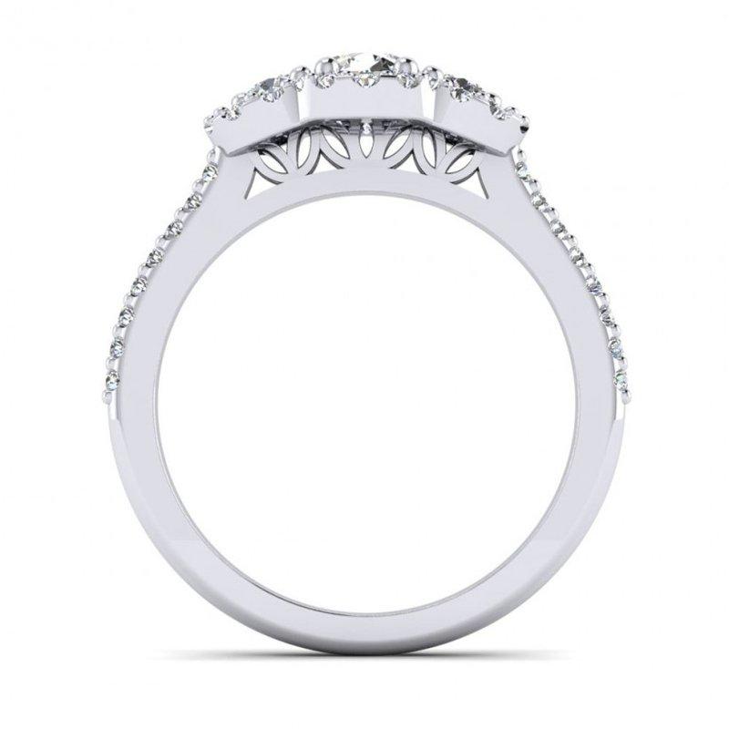 Toodie's Bridal Three Stone Halo Design Diamond Engagement Ring
