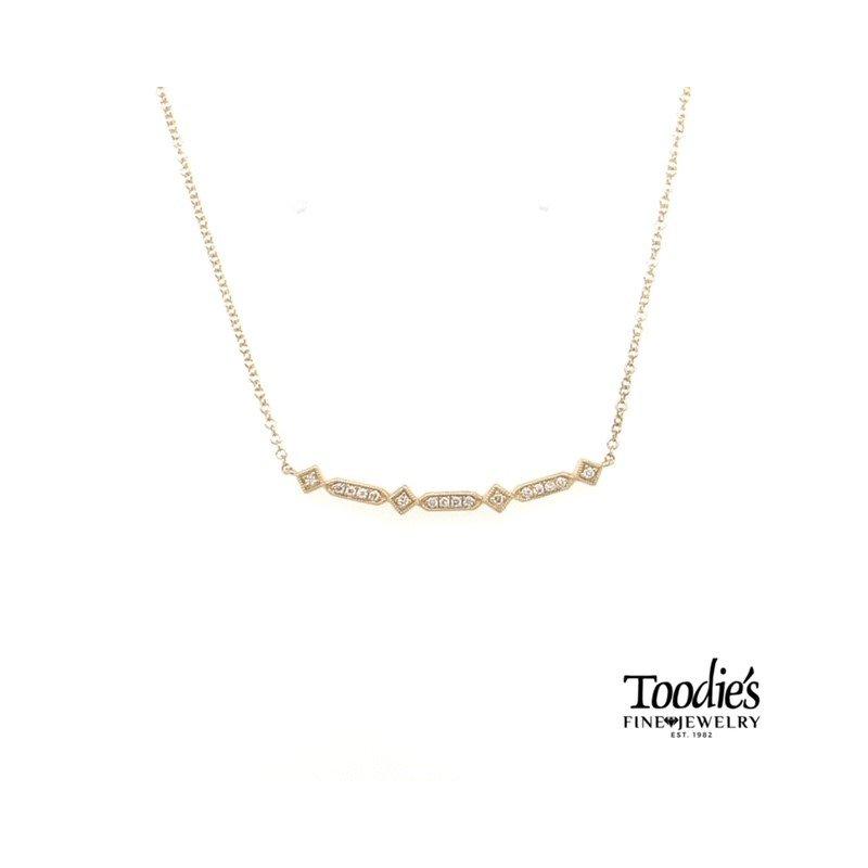 Gabriel Fashion Gold Curved Geometric Diamond Bar Necklace