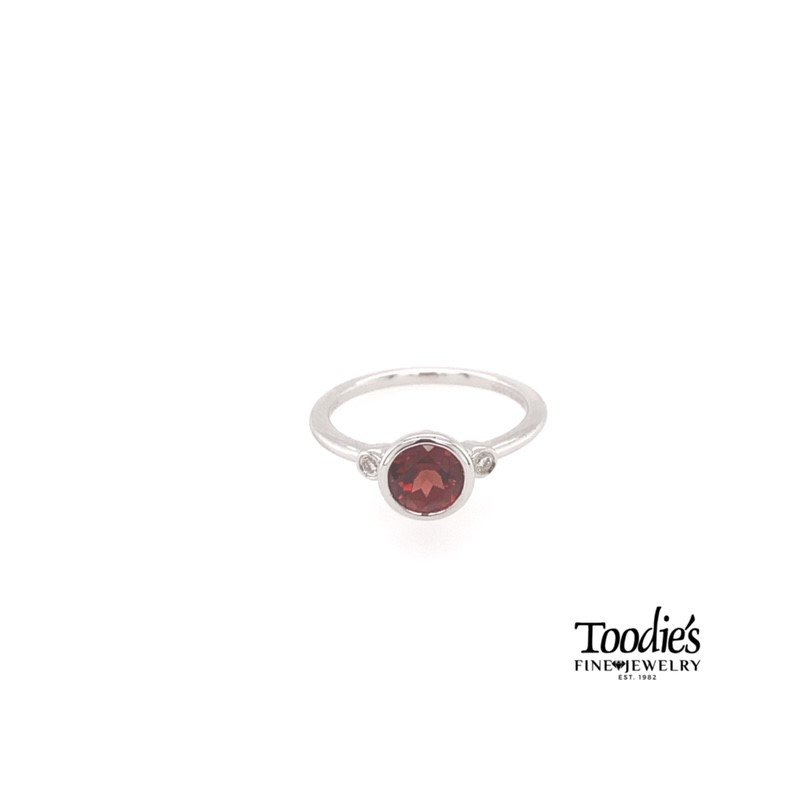 Gabriel Fashion Sterling Silver Garnet And Diamond Fashion Ring