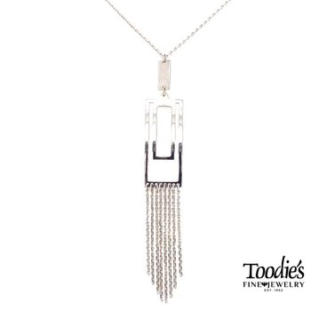 Rectangular Lariat Style Drop Necklace