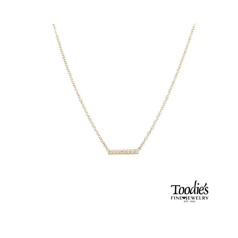 Gabriel Fashion Petite Diamond Pave' Bar Necklace