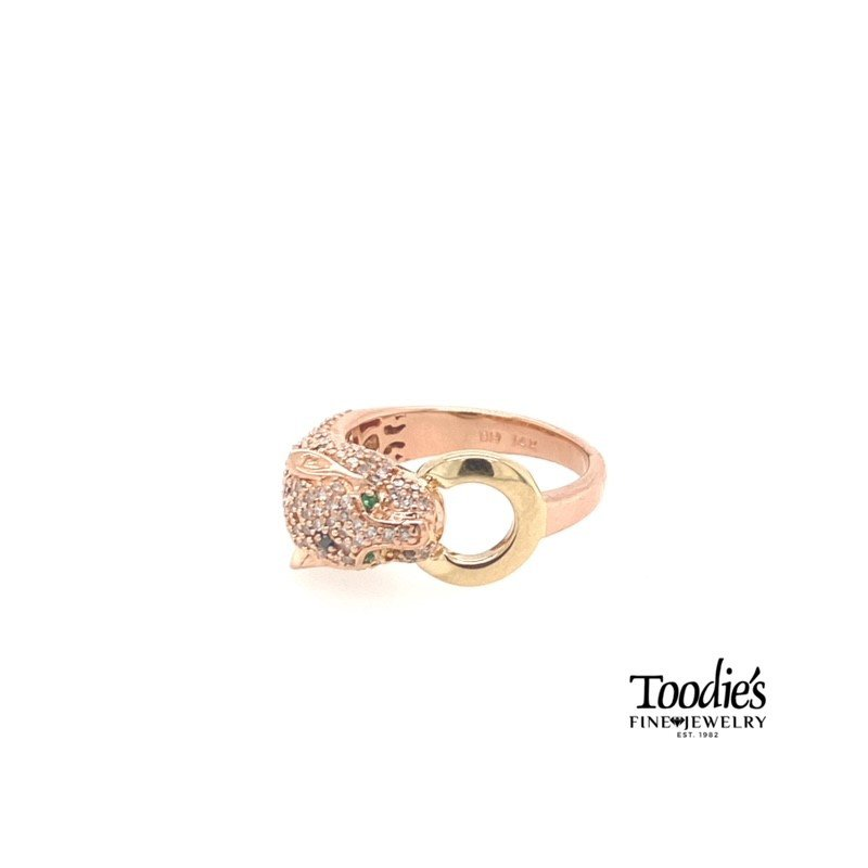Toodie's Signature Fashion Estate Blk/Wht Diamond Panther Ring