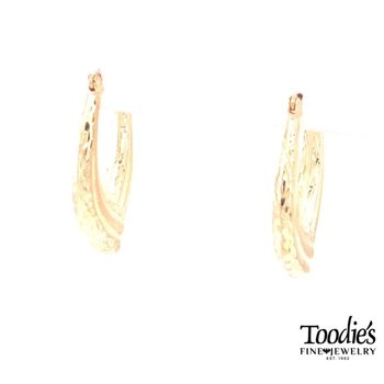 Textured Oval Hooped Earrings