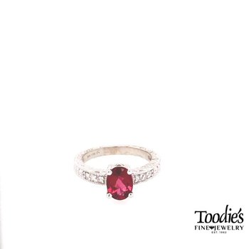 Pink Tourmaline And Diamond Vintage Style Ring
