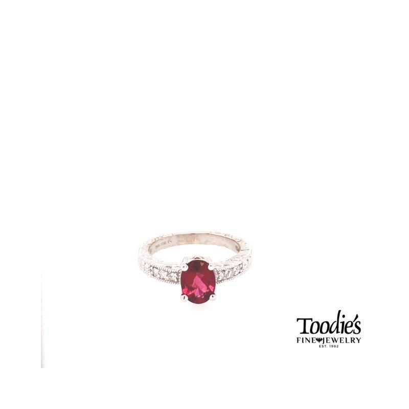 Toodie's Signature Fashion Pink Tourmaline And Diamond Vintage Style Ring