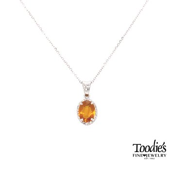 White Gold Citrine And Diamond Necklace