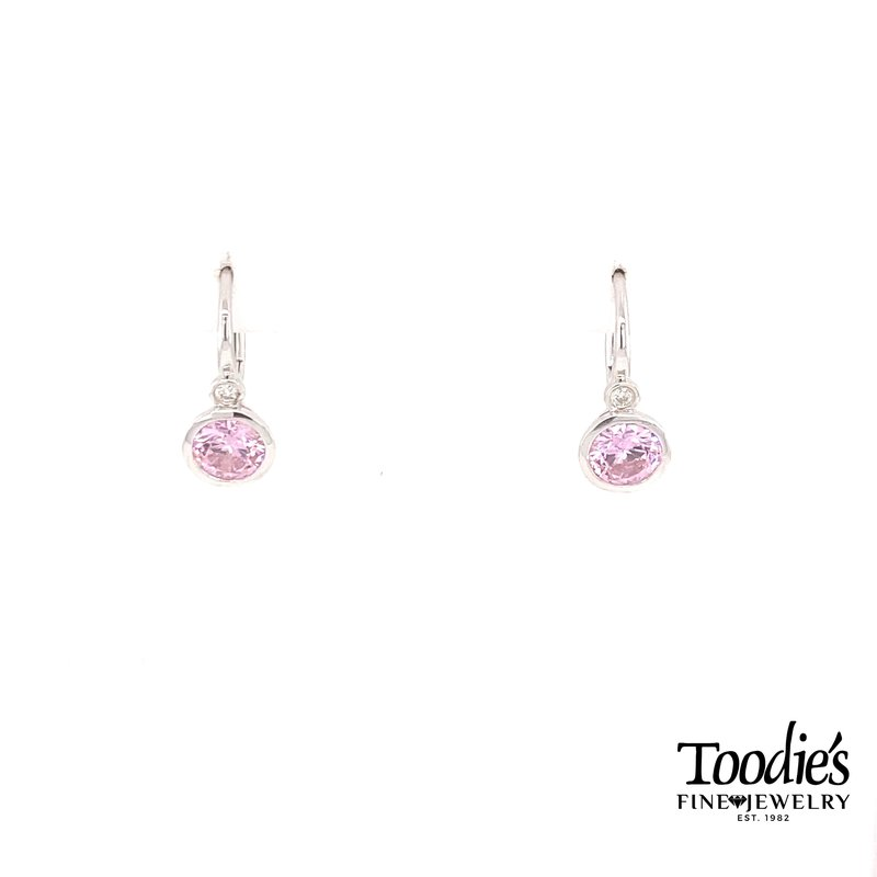 Gabriel Fashion Sterling Silver With Pink Zircon And Diamond Earrings