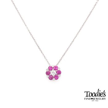 White Gold Pink Sapphire And Diamond Necklace