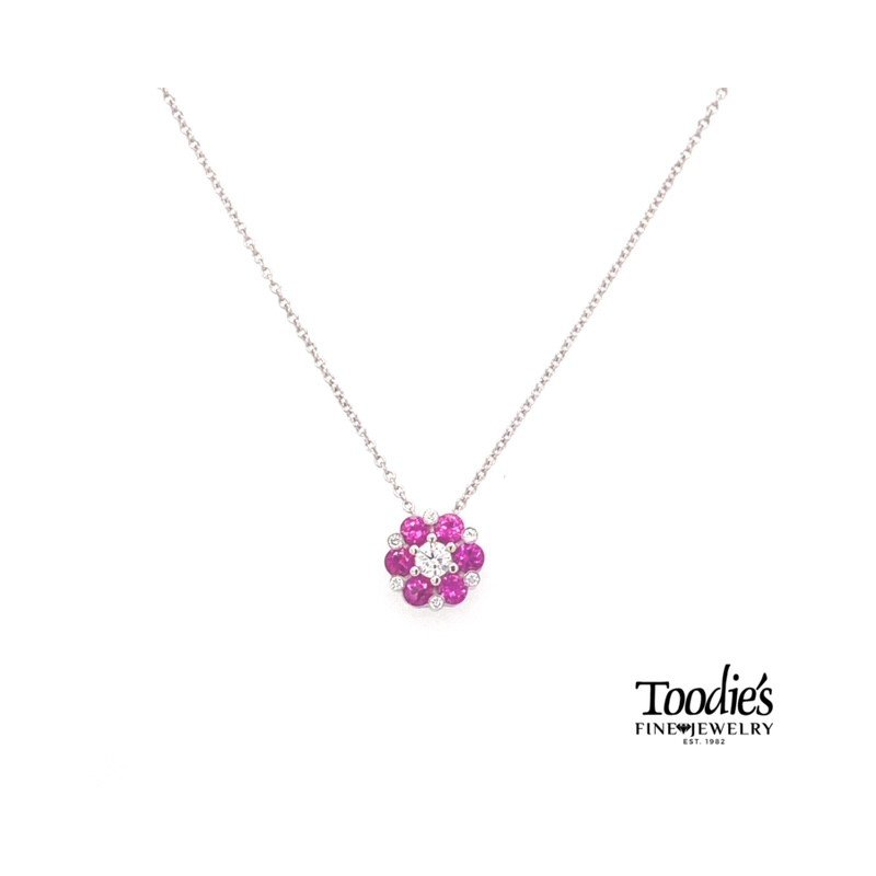Toodie's Signature Fashion White Gold Pink Sapphire And Diamond Necklace